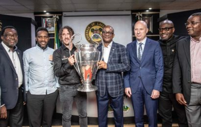 PHOTOS: Ambode Receives UEFA Champions League Trophy in Lagos